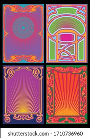 Psychedelic Art Poster, Cover Templates from the 1960s, 1970s, Art Nouveau Frames and Decor, Psychedelic Color Palettes
