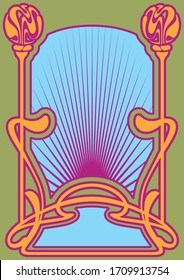 Psychedelic Art Poster Template, Art Nouveau Frame, Psychedelic Colors, Decorative Border 1960s, 1970s Style