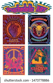 Psychedelic Art Posters 1960s, 1970s Style, Hippie Girl, Heart, Ram Skull, Lily Flowers, Peace Symbol, Vintage Colors and Ornaments
