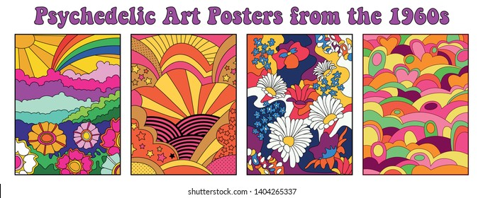 Psychedelic Art Posters, Covers, Backgrounds Templates 1960s Hippie Style