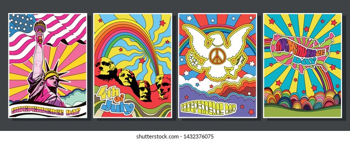 Psychedelic Art USA Independence Day Posters Set, Statue of Liberty, Coat of Arms, Rushmore Mount, US Map