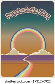Psychedelic Art Vintage 1960s Music Album Cover, Poster Stylization, Rainbow, Clouds, Gradient Sky