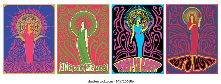 Psychedelic Art Women Posters 1960s, 1970s Music Cover Stylization, Decorative Ornate Backgrounds