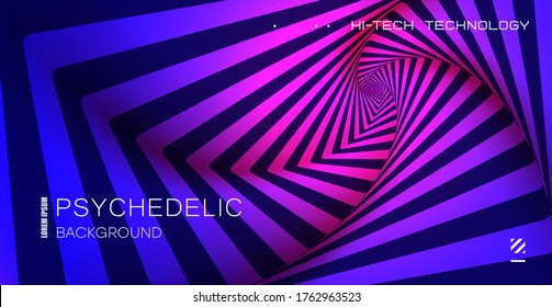 Psychedelic background. Optical illusion. Spiral pattern of growing squares.