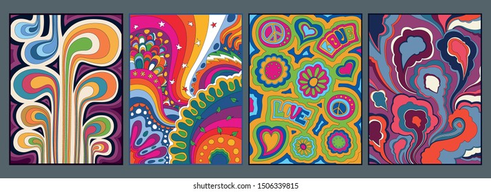 Psychedelic Backgrounds, Poster, Wallpapers, Cover Templates, Vintage Colors, 1960s Style