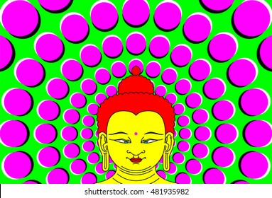 Psychedelic Buddha with moving background. Transcendent Bodhisattva illustration with peripheral drift optical illusion. It seems, the wheel with magenta dots on green become bigger with eye movement.