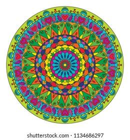 Psychedelic Cannabis Colorful Rainbow Mandala pattern circle design