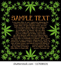 Psychedelic cannabis flyer text frame vector design