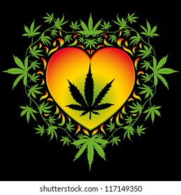 Psychedelic cannabis heart vector design