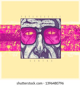 Psychedelic center. Design CD Cover Or Poster with a man in colored glasses with snake eyes. Vector Illustration.
