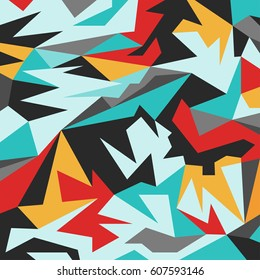 psychedelic colored abstract pattern of polygons