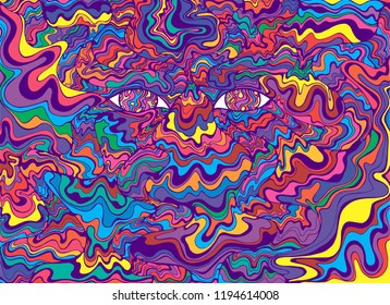 Psychedelic colorful eyes and waves. Fantastic art with decorative eyes. Surreal doodle pattern. Rainbow colors abstract pattern, maze wave of ornaments. Vector hand drawn illustration.