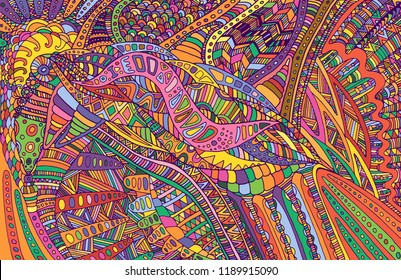 Psychedelic colorful surreal doodle pattern. Rainbow colors abstract pattern, maze of ornaments. Vector hand drawn illustration.