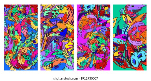 Psychedelic colorful vector hand drawn doodle illustration background for poster and banners