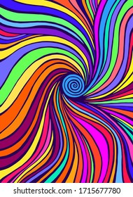 Psychedelic colorful  waves. Fantastic art with decorative texture. Surreal doodle pattern. Rainbow colors abstract pattern, maze wave of ornaments. Vector hand drawn illustration.