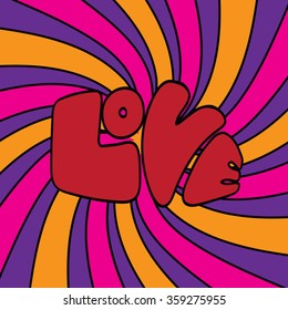 Psychedelic colors pop art illustration of the word Love. EPS 10 vector illustration.