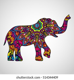 Psychedelic Elephant Body Silhouette Poster Icon Vector Illustration