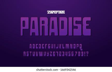 Psychedelic Font and Alphabet, original design. Vector illustration.