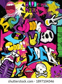Psychedelic graffiti background vector pattern