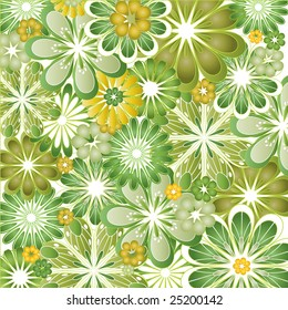 A psychedelic green and orange flowery vector illustration