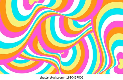Psychedelic groovy wave background. Vector illustration.