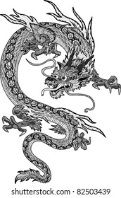 Psychedelic hand-drawn huge and detailed chinese dragon - new year symbol