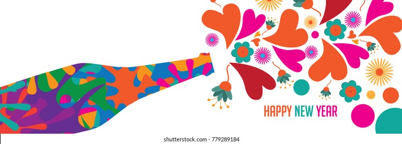 Psychedelic Happy New Year card design. Champagne celebration bottle making toast with colorful hearts and flowers to bring in the new year. EPS 10 vector illustration.