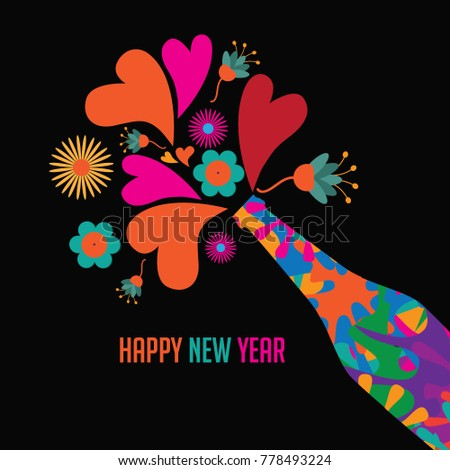 psychedelic happy new year card design champagne celebration bottle making toast with colorful hearts and