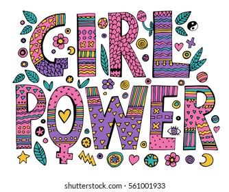 Psychedelic hippie Girl Power lettering with colorful flowers.Isolated on white background.Quote design.Drawing for prints on t-shirts and bags, stationary or poster.Vector