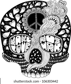 psychedelic hippie scull t-shirt print