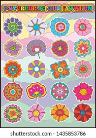 Psychedelic Hippie Style Hand drawn flowers, Vintage Colors and Shapes