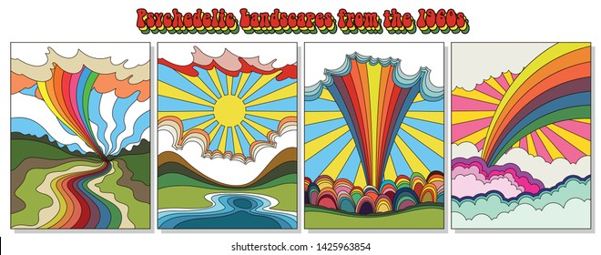 Psychedelic Landscapes from the 1960s Hippie Style Backgrounds, Colorful Scenes, Rainbows, Fields, Clouds
