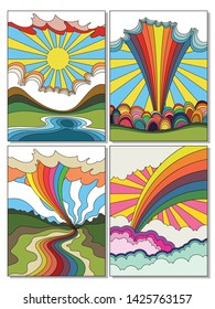 Psychedelic Landscapes Hippie Style Art from the 1960s, Nature, Scene, View Rainbow