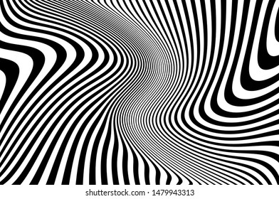 Psychedelic lines. Abstract pattern. Texture with wavy, curves stripes. Optical art background. Wave design black and white. Vector illustration.