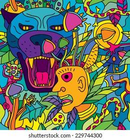 Psychedelic magic mushroom hallucination jungle seamless pattern vector illustration