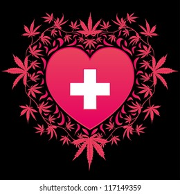 Psychedelic medical cannabis heart vector design