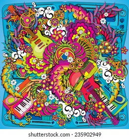 Psychedelic music illustration