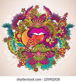 Psychedelic music with lips illustration