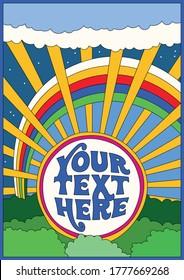 Psychedelic Nature Hippie Art Poster, Cartoon Illustration Rainbow, Sun Rays, Bushes 1960s Art Style