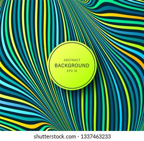 Psychedelic optical illusion. Hypnosis twisted spiral design concept. Magical abstract background. Vector colorful striped swirl. Hypnotic wavy pattern
