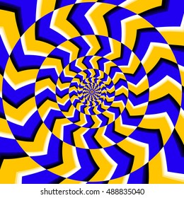 Psychedelic optical spin illusion vector background. Illusion of motion effect illustration