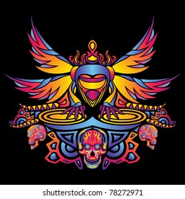 Psychedelic party DJ vector illustration