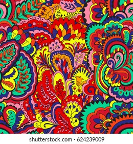Psychedelic plant vector seamless colorful pattern.