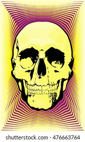 Psychedelic, retro-styled, hippie skull.  Perfect for band fliers,  posters, wall hangings and more. Optimized for print.  11x17 aspect  ratio.