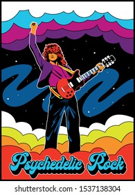 Psychedelic Rock Guitar Player Vintage Poster Stylization