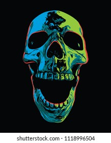 Psychedelic Screaming Skull on Black Background