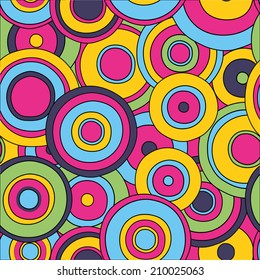 psychedelic  seamless pattern, 1970s fashion style texture, vivid colors backdrop, editable, doodle circles in green, pink, blue, yellow colors, hippie style, vector eps10