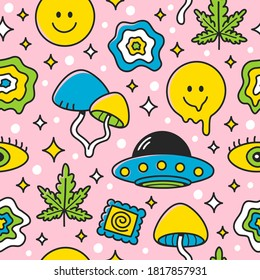 Psychedelic seamless pattern. Vector flat cartoon kawaii character illustration icon design.  Trippy pattern concept