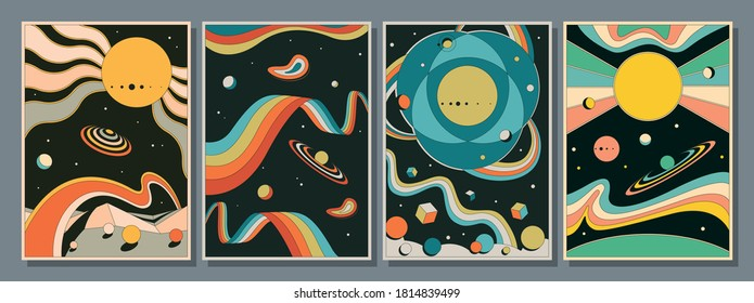 Psychedelic Space 1960s Style Backgrounds, Illustrations, Covers, Posters Templates
