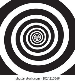 Psychedelic spiral. Hypnotic swirl.    Black and white rotating circles in hypnotic motion. Optical illusion. Abstract vector background.